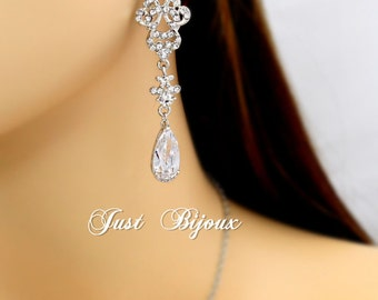 Wedding Earrings Rhinestones Zirconia Earrings Wedding Jewelry Bridal Earrings Bridesmaid Gift Wedding Jewelry Teardrop CZ Earrings love