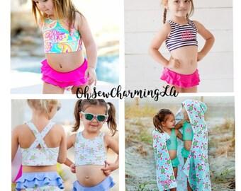 Monogram Girls Swimsuit, Monogram Swim suit, Monogram swimwear, Monogram Turtle Swim wear, Paisley Swim, Mint Swim, Navy Strip Swim