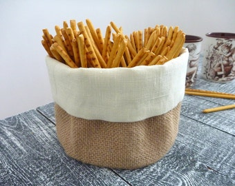 Burlap basket, Burlap storage, Round basket, Linen basket, Fabric basket.