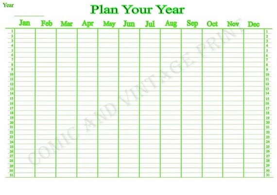 Yearly Wall Planner for 2017 2018 and More. Large A3
