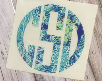 Lilly Pulitzer Inspired Circle Monogram Decal | Yeti Decal | Lilly Car Decal | Lilly Monogram Decal | Monogram Car Decal Lilly Sticker
