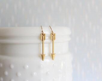 ZOE - Matte Gold Arrow, Gold Filled Earwire, Dangle Earrings