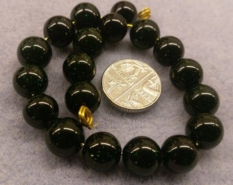 Green Goldstone 10mm beads semi precious
