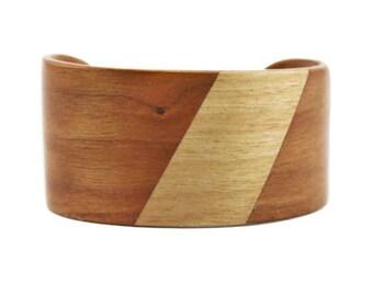 Vintage Wood Cuff Bracelet, Wide Inlaid Wood Cuff Bracelet, Wide Wood Bracelet