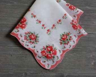 Vintage Hankerchief, Flower Bouquets, Peachy Coral, Gift for Her