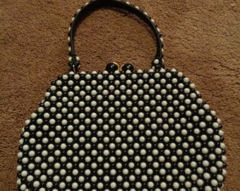 Black and White Beaded Purse,  Womans Fashion Accessory, Vintage Purse, Handbag