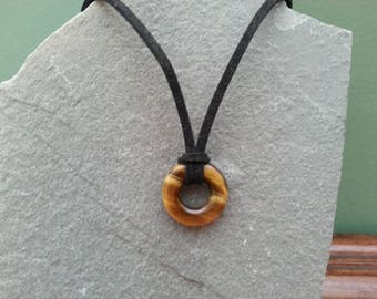 Vintage Tiger's Eye on 16 Inch Leather Necklace