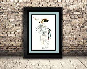 High Resolution Poster Digital Download of Vintage Haute Couture Fashion Model with Umbrella. Wall Art or Home Decor of Vogue, Art Deco.