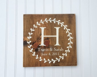 Initial Sign, Last Name Sign, Monogram Sign, Gallery Wall Sign, Wooden Letter Sign, Family Letter Sign, Rustic Monogram Sign, Wedding Gift