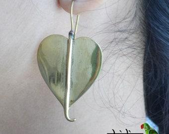 Brass peepal leaf earring, hoop earring, gypsy earring, tribal earring, vintage Earring ,fake gauge earring, metal earring, indian earring