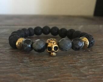 Lava Bead & Larvikite Bracelet, gold skull bead, bead bracelet, gemstone bracelet, healing crystals