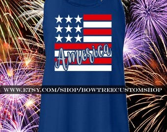 America Flag Fourth of July Tank Top