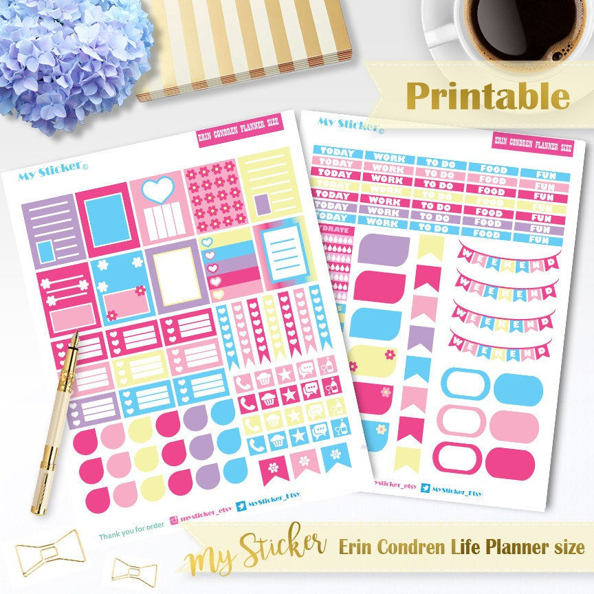This is a picture of Resource Erin Condren Printable Stickers