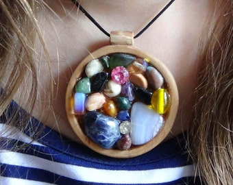 Anniversary gift rainbow jewelry Birthday gift for teen girl gift for sister multistone necklace multistone pendant summer jewelry bright