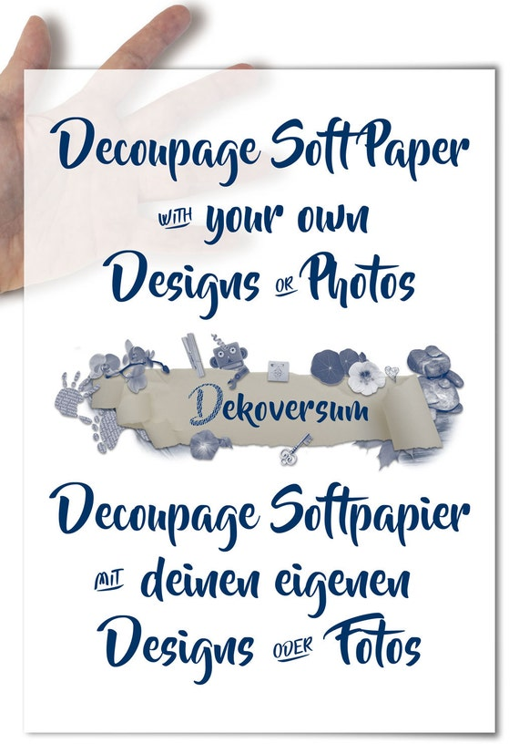 Decoupage Paper with your design motive or photo • mod podge decopatch napkin technique with your own designs