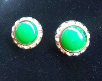 Green Rhinestone Clip On Earrings - Vintage Rhinestone Earrings