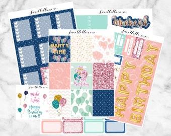 Birthday Kit / Birthday Planner Sticker Kit / Erin Condren Life Planner Vertical Layout / ECLP / Happy Birthday Weekly Sticker Kits