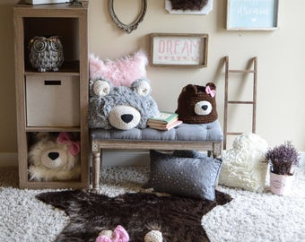 Nursery Rug / Faux Bear Rug / woodland nursery / Baby room decor