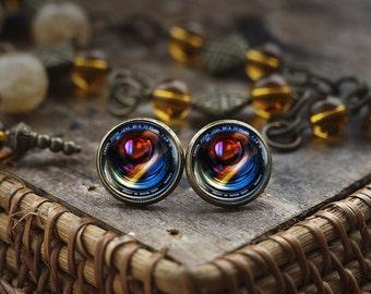 Camera Lenses stud earrings, Photography earrings, Gift For Photographer, Camera earrings, Camera Lens art gift, photo earrings