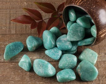 One Tumbled AMAZONITE Stone - Amazonite Crystal, Wire Wrap Amazonite, Chakra Stone, Healing Stone, Healing Crystal, Tumbled Stone E0276