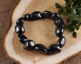 SHUNGITE Stone Bracelet - Stretch Bracelet, Tumbled Stones, Shungite Jewelry, Shungite Beads, Healing Crystal, Healing Stone E0277