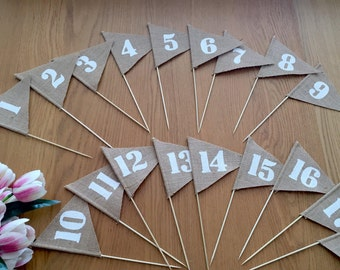 1-10 Wedding table number, Burlap table numbers, rustic wedding table numbers,Hessian Flags numbers,  wedding table decoration