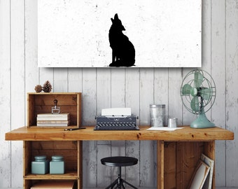 Wolf Howling Silhouette, Black and White Print, Silhouette Wall Art, Canvas Wall Decor, Black & White Canvas, Printed on Canvas