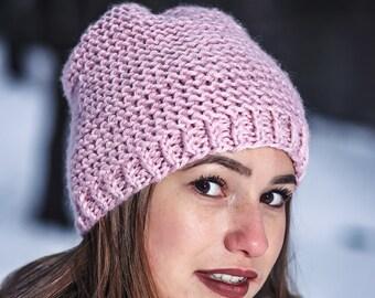 Rose quartz hat Pink winter hat Handmade pink hat Winter hat Hat for women Knit pink hat Slouchy beanie Winter beanie Knit hat Wool hat