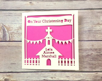Personalised Christening Card, Baptism Card, Communion Card, Boy Christening, Girl Christening, Handmade Card, Personalised Christening Gift