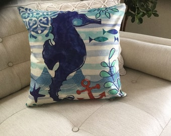 "SEAHORSE Decorator Accent Pillow. FREE Pillow Form/Insert. 16""x16"". Cotton/linen.. Coastal Decor. Beach Decor. Nautical Decor"