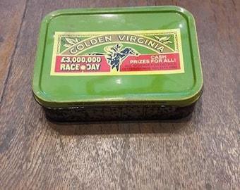 Vintage Golden Virginia Tobacco Tin, Horse Racing