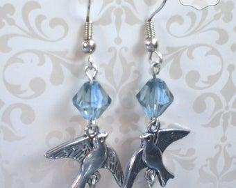 Drop earrings with birds Dangly bird earrings Hippie bird earrings Boho bird earrings Silver plated blue bird earrings Swallow earrings