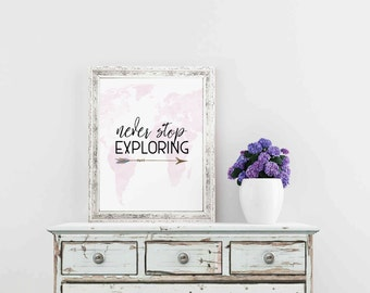 Travel Quotes, Wanderlust Print, Never Stop Exploring,Travel Printable Art, Travel Quote, Explore, Wanderlust Poster, Travel Gift Women