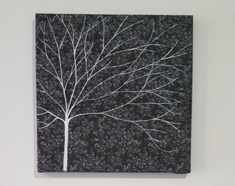 Feeling grey? Grey and white hand painted tree