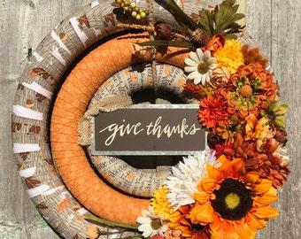 Autumn Wreath - Fall Floral Wreath - Thanksgiving Wreath - Fall Wreath - Thanksgiving Front Door Wreath - Thanksgiving Floral Wreath