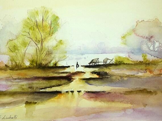 Landscape,Lake,trees,watercolor,copy,ooak,31x23 cm./12x9 inc.,gift idea, wall art,home decoration,lounge,living,bedroom,watercolor art.