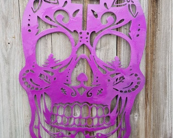 """Sugar Skull metal art. Made from aluminum. 21"""" available in bare metal or candy paint"""