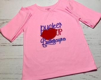 Personalized Valentine Shirt,  Monogrammed Valentine Shirt, Embroidered Valentine Shirt, Valentine Shirt, Kids Valentine Shirt, Pucker Up