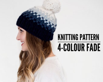 Knitting Pattern: 4-Colour Fade // Fair Isle Chunky Knit Hat