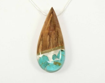 Necklace wood- teardrop shape- Birch- Heated birch-  turquoise inclusions in resin- Celtic calendar- Unique