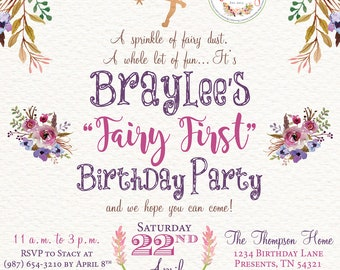 Fairy First Birthday Digital + Printable Invitation Design