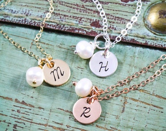 SALE • Dainty Initial Necklace • Stamped Gold Initial • Rose Gold Initial • Necklace  • Charm • Sterling Silver Initial • Tiny Initial Tags