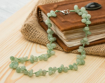 Jade necklace beaded gemstone necklace for mother energy necklace stone green necklace womans necklace sisters gift for her jade jewelry