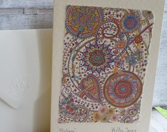 Mandala Art Card ~ Butterfly Card ~ Doodle Art ~ Boho ~ Intricate Greeting Card ~ Original Art ~ Printed on Handmade Paper for Muted Effect