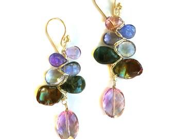 Tanzanite, Amethyst, Iolite and Freshwater Pearl Earrings