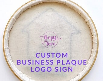 Custom Logo Plaque, Timber Business Sign, Hand Embroidered Brand Plaque, Flat lay Plaque, Company Name Sign, Marketstall Signage, Logo Art