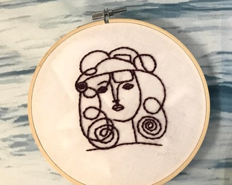 Picasso Line Drawing Embroidery
