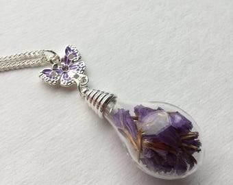 Amici. Purple teardrop Necklace
