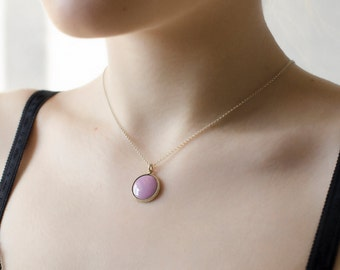 Pink pendant, woman pink necklaces, enamel jewelry, gift for her