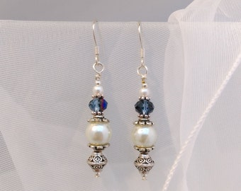 Blue Crystal Earrings, Glass Pearl Earrings, Pearl Drop Earings, Tibetan Silver Bead Earrings, Bridal Drop Earrings, Graduation Gift